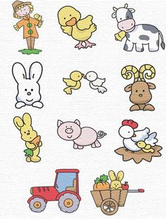 Free Embroidery Designs  farm animals with scarecrow