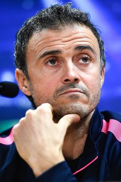 Head coach Luis Enrique of FC Barcelona faces the media during a press conference ahead of their UEFA Champions League Group F match against Paris Saint-Germain FC at Ciutat Esportiva on December 9, 2014 in Barcelona, Catalonia.