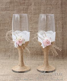 Rustic Country Wedding Glasses Cottage Chic Toasting by AniArts                                                                                                                                                                                 Mais