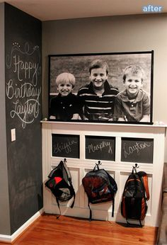 Pack it up, pack it in, let me begin …But if I had a blank wall or empty corner to spare, I would love to do something like Bethany did here, chalkboard wall/command center/priceless photo of adorableness station.  I bet her kids  pause thoughtfully at their appointed hooks before gently hanging up their backpacks with words of thankfulness falling from their lips everyday.