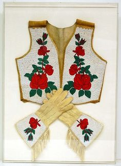 Native American Beaded Roses | Beaded Cowboy Vest & Gauntlets, Matched Set, Leather, Native American ...