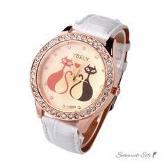 Damen Armbanduhr Strass Kätzchen in Love Rosegold...