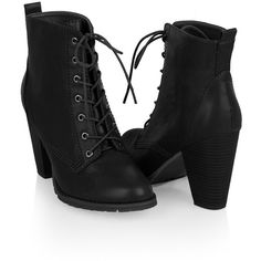 Workman Lace-Up Bootie (75 PLN) ❤ liked on Polyvore featuring shoes, boots, ankle booties, heels, black, women, short black boots, black high heel booties, ankle boots and high heel booties