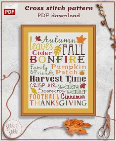 Autumn cross stitch, Fall cross stitch, Leaves cross stitch, Thanksgiving, Welcome autumn, Inspirational cross stitch, Subway art, Xstitch Fall Cross Stitch, Cross Stitch Tree, Cross Stitch Samplers, Cross Stitching, Cross Stitch Embroidery, Funny Cross Stitch Patterns, Motivational Gifts, Types Of Stitches, Holly Hobbie
