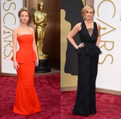 Peplum on the red carpet - Oscars 2014 - Jennifer Lawrence in Dior Couture and Julia Roberts in Givenchy Haute Couture