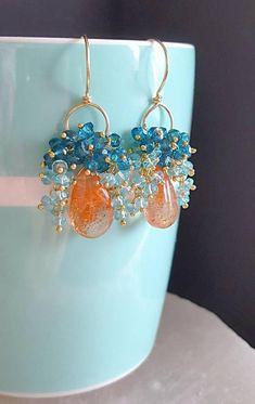 Jewelry Design Earrings, Small Earrings, Gemstone Jewelry, Beaded Jewelry, Handmade Jewelry, Wire Wrapped Earrings, Beaded Earrings, Chandelier Earrings, Beaded Chandelier