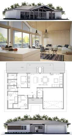 House Plan, Single story home with three bedrooms. Floor Plan from ConceptHome.com