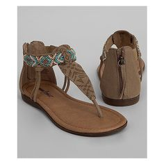 Minnetonka Antigua Sandal ($48) ❤ liked on Polyvore featuring shoes, sandals, beaded sandals, real leather shoes, minnetonka shoes, taupe shoes and taupe leather shoes
