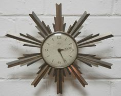 Retro Vintage 1960 Paico Metal Starburst Space Age Wall Clock Wind Up Working
