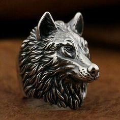 (Sponsored) 925 Sterling Silver Wolf Ring Handmade Huge Heavy Mens Biker Ring US 14 Wolf Jewelry, Punk Jewelry, Jewelry Rings, Silver Jewelry, Jewelry Watches, Animal Jewelry, Silver Bracelets, Jewelry Ideas, Jewelery