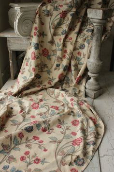 Antique French hand penciled + block printed chintz fabric c1810 floral