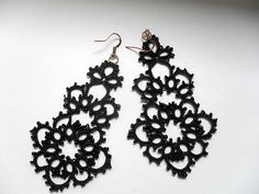 Tatted earrings with glass beads black lace earrings tatted