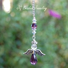 Angel Car Charm Purple #suncatchers #prism #crystals #angel #ornament