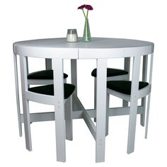 Modern Round 5 Piece Space Saving Dinette Set - White - Dining Table Sets at Hayneedle