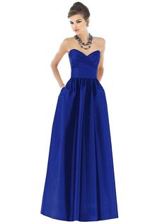 long, sweetheart neckline dress with pockets by Alfred Sung
