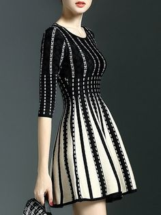 Assorted Colors Charming Round Neck Knitted Dress