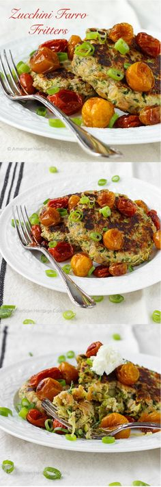 Healthy Zucchini Farro Fritters with Slow Roasted Tomatoes