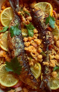 Domestic Sluttery: Sluttishly Savoury: Grilled Sardines with Lemon Garlic Chickpeas & Couscous