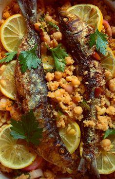 Domestic Sluttery: Sluttishly Savoury: Grilled Sardines with Lemon Garlic Chickpeas & Couscous