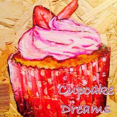 Pink and red strawberry cupcake art Apple Art, Cupcake Art, Strawberry Cupcakes, Toffee, Vegetables, Red, Pink, Sticky Toffee, Candy