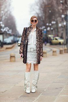 fringe boots with animal print coat