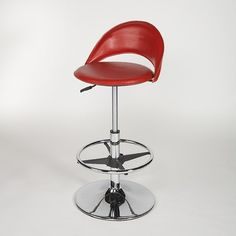 Chintaly Adjustable Swivel Stool with Round Seat in Red