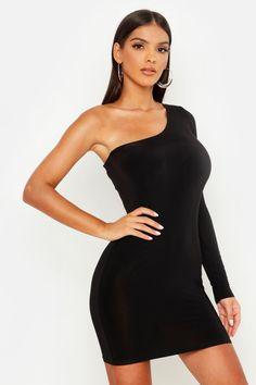 Womens Slinky One Shoulder Mini Dress - black - 8 Skater Dress, Dress Up, Prom Dress, One Shoulder Dress Long, Bodycon Dress Formal, Casual Dresses, Short Dresses, Dress Hairstyles, Bodycon Fashion