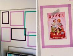carte fixée au mur dans l'espace du cadre en masking tape (faire un montage des cartes qu'on reçoit, ou des photos du voyage à venise dans l'entrée, et de la guadeloupe dans le salon)