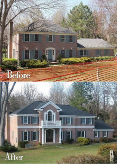Before & After of a Georgian Colonial. A master suite addition was added above the garage, a front porch addition and a kitchen addition.