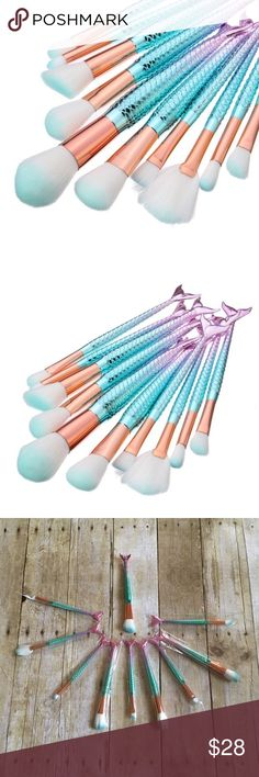 10 piece Ombré Mermaid Makeup Brushes NEW!! 10 piece Ombré Teal and Pink assorted Mermaid brushes. Adorable set for all of your makeup needs!!! Makeup Brushes & Tools