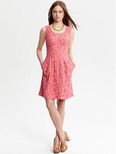 Banana Republic - Trish Textured Dress - Pink, Sleeveless, Pockets $130