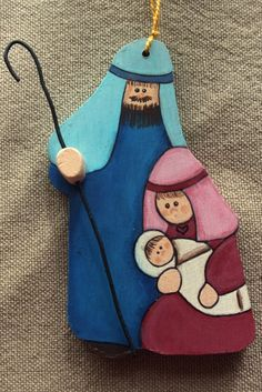 Tole Painted Wood Nativity Christmas by KathysHeartCreations