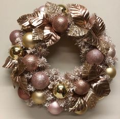 Rose gold wreath by Miss Haberdash Christmas. Gold Wreath, Gold Christmas, Christmas Wreaths, Christmas Decor, Wreaths And Garlands, How To Make Wreaths, Talvi, Ornament Wreath, Deco Mesh