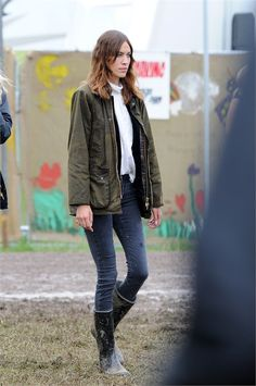 Barbour. on Alexa Chung. at Glastonbury 2014.