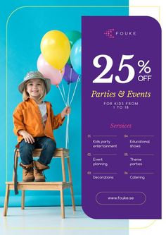 Party Organization Service with Girl with Balloons — Create a Design Balloons Online, Organizing Services, Its A Girl Balloons, Party Organization, Edit Online, Online Posters, Marketing Materials, Event Planning, Ecommerce