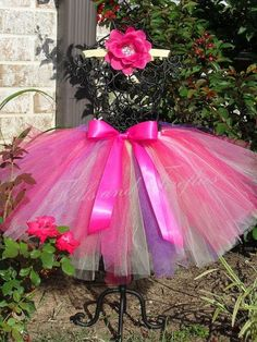 Pretty Hot Pink, Lavender and White Tutu with Hot Pink Satin Bow in Baby to Adult Sizes
