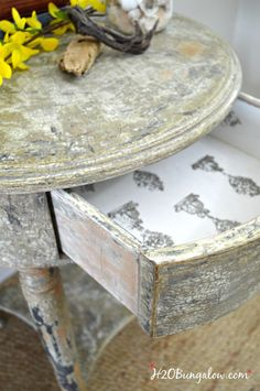 Aged Chippy Paint Finish Tutorial Aged chippy paint finish tutorial for a furniture makeover with stamped drawer. Step by step instructions with full supply list included for the fabulous aged furniture makeover by