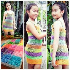 Rainbow loom child dress Ectended dragonscale pattern