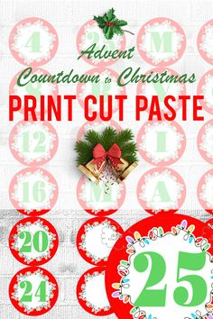 #Printable #Advent #Calendar - Countdown to Christmas by ArigigiPixel Red circles with green numbers 1-25 and letters MERRY CHRISTMAS festive light bulb border  Printable Number and Letters MERRY CHRISTMAS for Advent Calendar and other holiday decoration