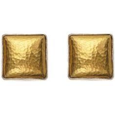 Gurhan 24K Gold & Sterling Silver Stud Earrings (12,190 DOP) ❤ liked on Polyvore featuring jewelry, earrings, gold, gold jewellery, yellow gold jewelry, silver tone earrings, 24 karat gold jewelry and yellow gold earrings