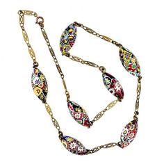 Sautoir con perle di vetro millefiori e catena di metallo, Venezia, anni venti