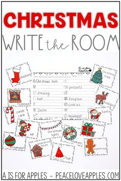Practice and learn Christmas vocabulary with this write the room activity for literacy centers!