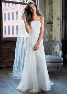 Galina. Strapless Tulle Wedding Gown with Lace Embroidery - Beautiful!! Love the fitted top with lace and flowy bottom
