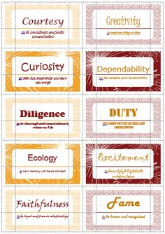 100 Value Cards (C-F) inspired from Motivational Interviewing. Print out on Avery business cards and use with clients to help them define and prioritize their values. Group Therapy Activities, Counseling Activities, Social Work, Social Skills, Counselling Theories, Therapy Tools, Therapy Ideas, High School Counseling, Middle School Libraries