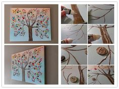 I'd love to do this in the girls' room:  How to make vibrant DIY button tree canvas wall art step by step tutorial instructions 512x384 How to make vibrant DIY button tree canvas wa...