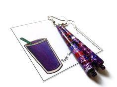 Purple and Pink Paper Bead Earrings  Handmade by PurpleSmoothie, $9.95