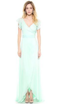 Joanna August Dorian Ruffle Sleeve Wrap Dress #weddingdress #vintage