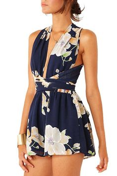Navy Chiffon Criss Crossed Back In Floral Print Playsuit -YOINS