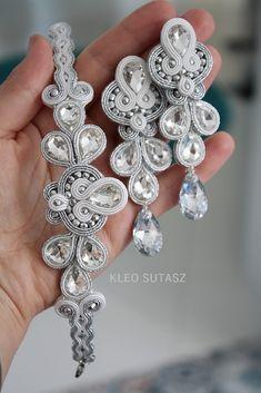 MADELINE | Sutasz Kleo / Kleo Soutache Soutache Necklace, Tassel Earrings, Beaded Embroidery, Boho Jewelry, Diy And Crafts, Jewels, Bridal, Beads, Bracelets