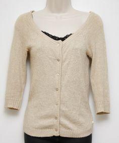 American Eagle Women Cardigan Sweater 3/4 Sleeve Biege Heathered Sz S Small